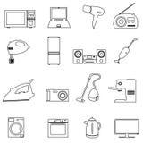 Hem- för översiktssymboler för elektriska anordningar uppsättning Royaltyfria Bilder