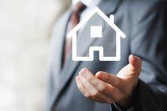Hem för symbol för tecken för rengöringsduk för hus för egenskapsförsäkring Arkivbild