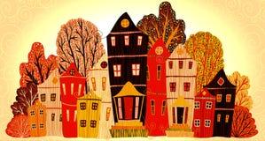 Hem för tappningaffischsötsak Tecknad filmbegreppskort med hus och träd Royaltyfria Foton