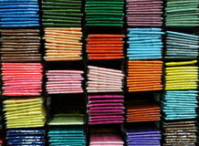 Hem fabric in colorful. On shelf royalty free stock photography