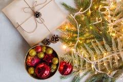 Hem- garnering för jul och nytt år för julsammansättning för bauble blått exponeringsglas tappning för stil för illustrationlilja Arkivbilder