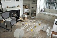 Hem- invasion, brottsplats i ett skeppsbrutet möblerat hem Arkivfoton