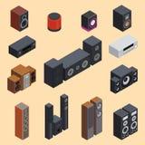Hem- isometrisk teknologi för utrustning för subwoofer för spelare för högtalare för musik för vektor 3d för solitt system stereo vektor illustrationer