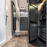 Hem- korridor med den svarta garderoben royaltyfri foto