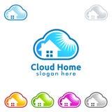Hem- logo för moln, datamolnlogo Royaltyfri Foto