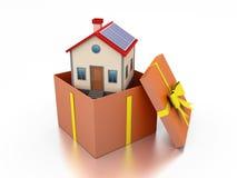 Hem- modell With Gift Box Royaltyfri Bild