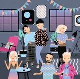 Hem- parti med dansen som dricker folk Trendiga unga grabbar och flickor i ljus kläder Färgrik vektor vektor illustrationer