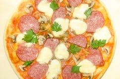 Hem- pizza med salami och mozzarellaen Arkivbilder