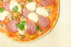 Hem- pizza med salami och mozzarellaen Royaltyfria Bilder