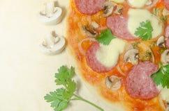 Hem- pizza med salami- och mozzarellaost med champinjoner och Royaltyfria Bilder