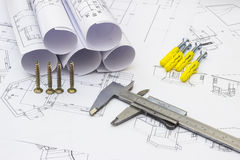Hem- renoveringplan och hjälpmedel Arkivfoto