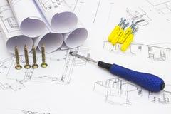 Hem- renoveringplan och hjälpmedel Arkivbild