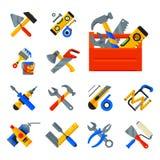 Hem- reparationshjälpmedelsymboler som arbetar konstruktionsutrustning ställer in och servar stil för lägenhet för arbetarmactera Arkivfoto