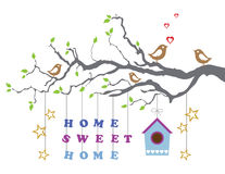 Hem- sötsakhem flyttning-i nytt hushälsningskort Royaltyfri Foto