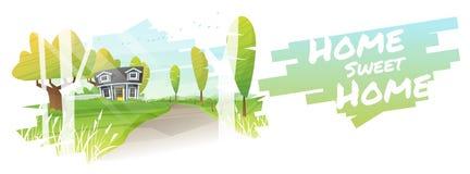 Hem- sötsakhem, härligt lantligt landskap och en bakgrund för litet hus vektor illustrationer