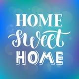 Hem- sött hem - dragen hand märka citationstecken på abstrakt blå purpurfärgad bakgrund med ljus effekt för bokeh för kort, tryck royaltyfri illustrationer
