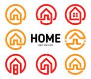 Hem- samling för vektor för logoöversiktsstil Uppsättning för fastighetaffärssymboler Hus isolerad symbol Idérik lägenhet Fotografering för Bildbyråer