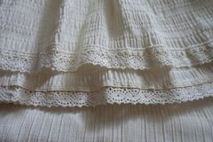 Hem of skirt with frills and lace Royalty Free Stock Photography