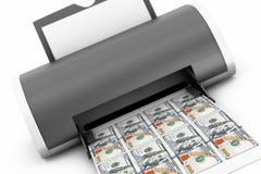 Hem- skrivare Printed Money för skrivbord framförande 3d stock illustrationer