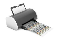 Hem- skrivare Printed Money för skrivbord framförande 3d royaltyfri illustrationer
