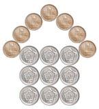 Hem som göras från pakistanska mynt royaltyfri foto