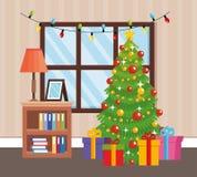 Hem- ställe med garnering för julträd royaltyfri illustrationer