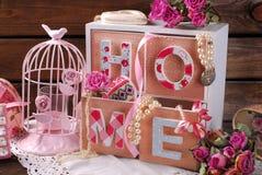 Hem- stilleben för tappning i romantisk stil Arkivbilder
