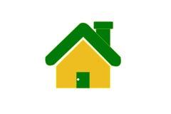 Hem- symbol för guling på vit bakgrund Fotografering för Bildbyråer