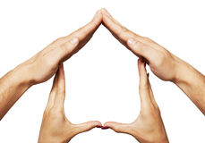 Hem- symbol för hand arkivfoto