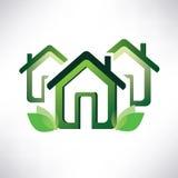 Hem- symbol, grönt bybegrepp Arkivbild
