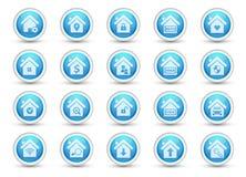 Hem- symboler för verkligt tillstånd för knapp Arkivfoton