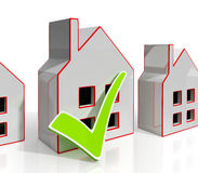 Hem- symboler med Tick Shows House For Sale Arkivbild