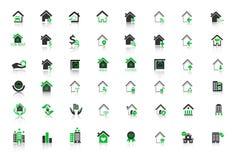 Hem- symbolsuppsättning för fastighet för rengöringsduk Arkivbilder