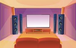 Hem- teater i tecknad filmstil med stor TV Rum med den r?da soffan inre modernt Akustiskt stereo- ljud stock illustrationer