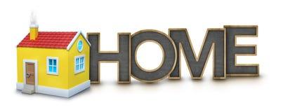 Hem- text med huset 3d Fotografering för Bildbyråer