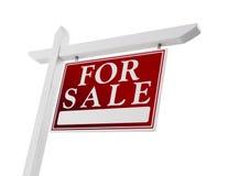 Hem- till salu Real Estate undertecknar på vit Arkivfoto
