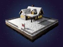 Hem- till salu realestate tecken Snö-täckt stuga på ett stycke av jord Julkabin på natten illustration 3d Arkivbild