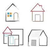 Hem- vektor för logo för fastighet för husbyggnad royaltyfri illustrationer