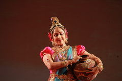 Hema Malini. Indian film actress and classical dancer Hema Malini performs her famous dance ballet, titled as Geet Govind during 102nd Indian Science Congress at Stock Photo