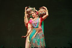 Hema Malini. Indian film actress and classical dancer Hema Malini performs her famous dance ballet, titled as Geet Govind during 102nd Indian Science Congress at Stock Photography