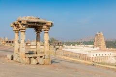 Hemakuta hill temples against Virupaksha temple, Hampi. Karnataka, India royalty free stock image