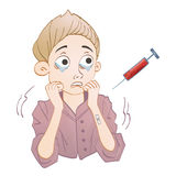 Hematophobia, abnormal and persistent fear of blood. Scared boy and syringe with blood. Vector illustration. Stock Photos