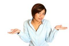Hembra asiática con ambos brazos para arriba Imagen de archivo libre de regalías