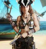 Hembra atractiva de fascinación del pirata Fotos de archivo