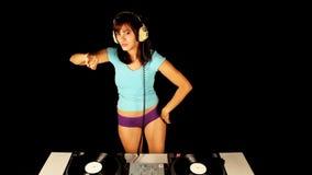 Hembra atractiva DJ almacen de video