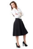 Hembra atractiva en la camisa blanca y la falda negra Imagenes de archivo