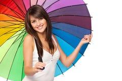 Hembra bajo el paraguas Imagenes de archivo