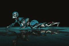 Hembra cibernética en un fondo oscuro y mojado stock de ilustración