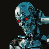 Hembra cibernética en un fondo oscuro y mojado libre illustration