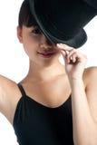 Hembra con el sombrero superior Imagenes de archivo